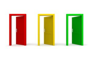 three doors in a a row - red, yellow, green - all doors open