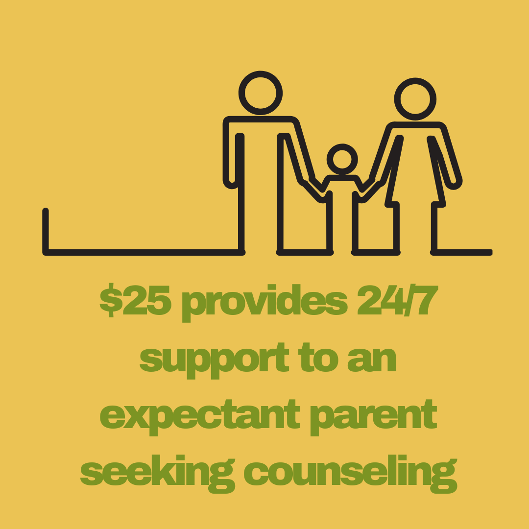 $25 provides 24/7 support to an expectant parent seeking counseling