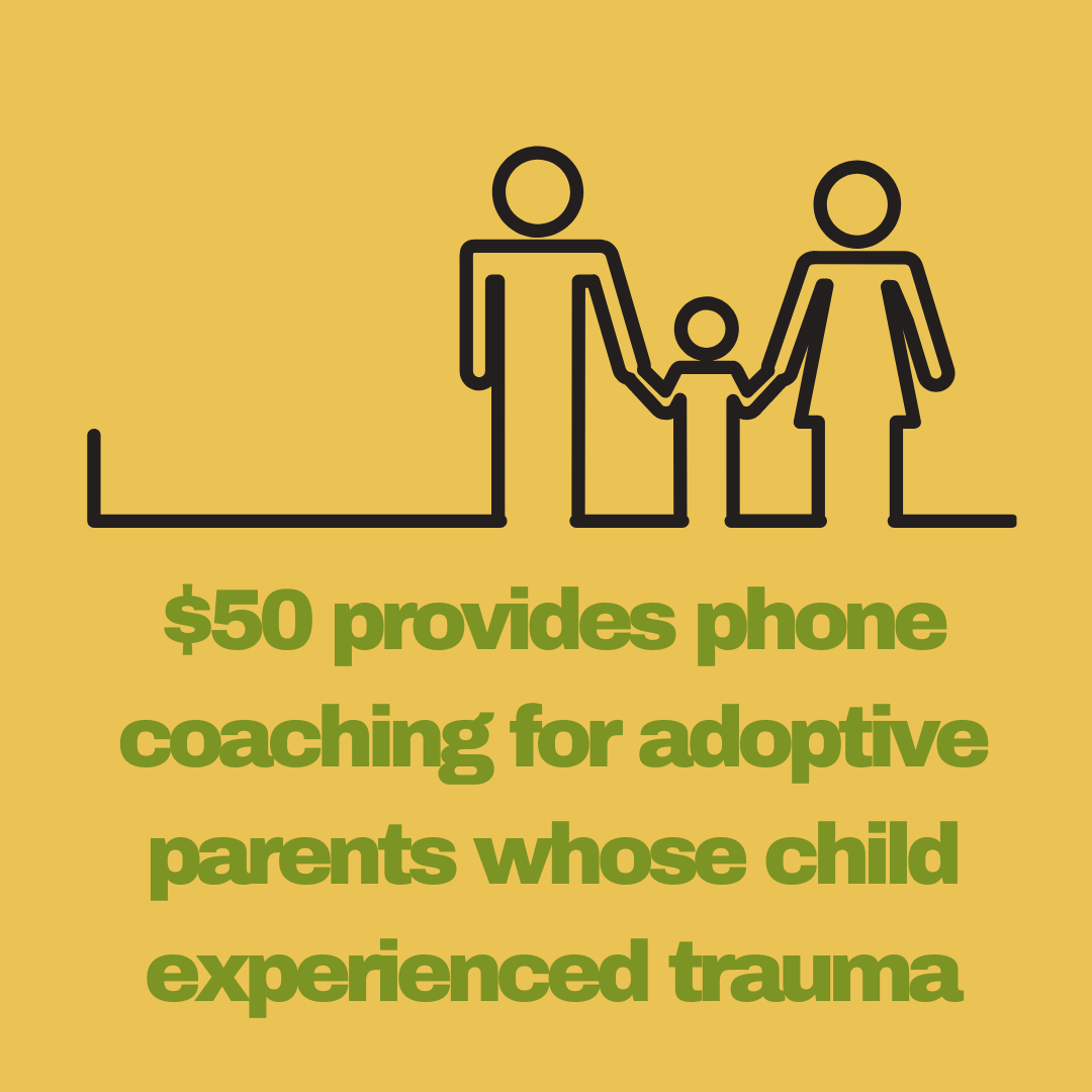 $50 provides phone coaching for adoptive parents whose child experienced trauma